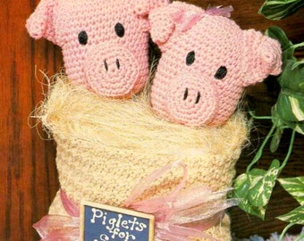 Vintage Crochet Pattern for Piglets for Sale Doorstop   Retro Country Kitchen Farmhouse  INSTANT DOWNLOAD PDF