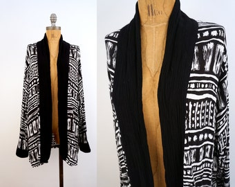 vintage 90s ABSTRACT  black + white DRAPED cardigan blouse M