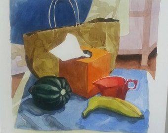 Still life with white tissue in the middle - original watercolor painting
