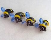 DESTASH Bumble Bee Beads  - Lampwork Glass - SRA