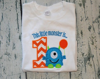 Personalized This Little Monster is One  Shirt  First Birthday Monster Shirt