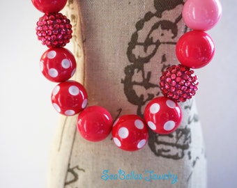 Pink Bubble Gum Necklace, chunky beads, little girls necklace, photo shoots prop, polka dots, chunky Necklace, 1st birthdays