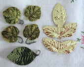 Barbie Diorama - Vintage Green Velvet and Gold Foil Leaves on wrapped wire - Milinery - Barbie Doll Accessory - Barbie Decor