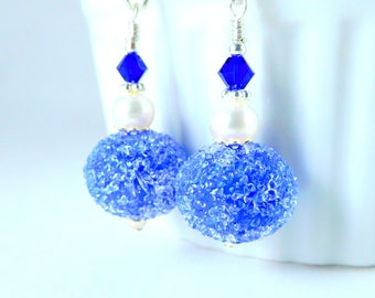 Cobalt Blue Sugar Glass Dangle Earrings, Royal Blue White Pearl Earrings, Snowball Earrings, Lampwork Earrings, Navy Blue Silver Jewelry