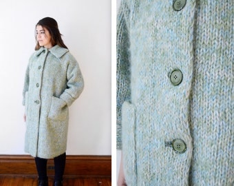 1960s Green Sweater Coat - S/M