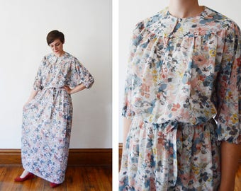 1970s Sheer Blue Floral Maxi Dress - M