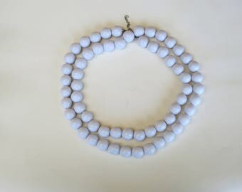 60s mod extra long white necklace