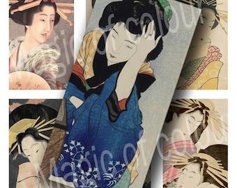 Digital Collage of  Vintage Japanese Woman Portraits - 35  1x2 Inch JPG images - Digital  Collage Sheet