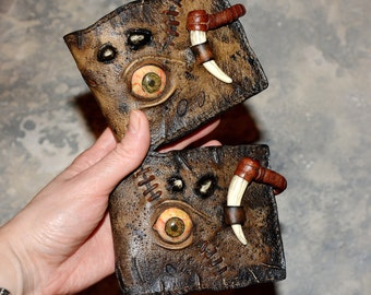 Zombie walking - Leather wallet - Steampunk wallet - Gift Men - Post apocalyptic Mens wallet Horror Eye Mutation Mad Max Necronomicon Undead