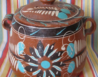 VTG Terra Cotta Clay Pottery Hand Painted Mexican Decortive Large Covered Jar