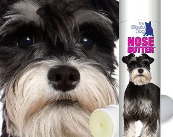 Schnauzer NOSE BUTTER® Handcrafted All Natural Moisturizing Balm for Dry or Crusty Dog Noses .50 oz. Tube with Schnauzer Label in Gift Bag