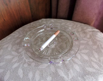 Fake Cigarette Pressed Glass Vintage Ashtray Starburst Theatrical Prop
