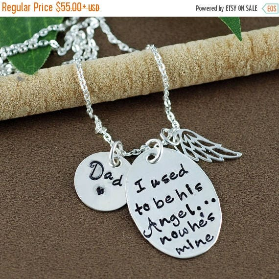 15% OFF SALE I use to be his Angel now he is Mine |Hand Stamped Necklace | Memorial Necklace | In Memory Of | Loss of Loved One | Sympathy G
