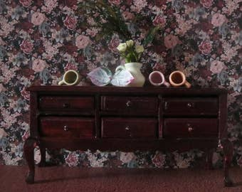 1/12 Scale Downloadable Printable Dollhouse Flowery Tapestry Wallpaper