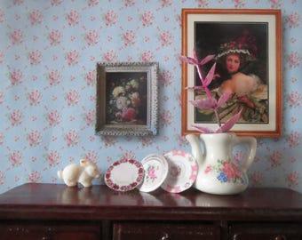 1/12 Scale Downloadable Printable Dollhouse Vintage Romantic Rose Wallpaper