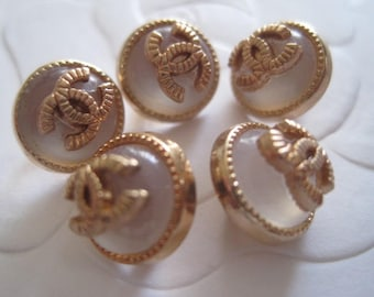 Lot  of 5  CHANEL Pink Transparent/Gold Color Buttons ,10 mm
