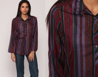 80s Button Up Shirt Striped METALLIC Blouse Purple Tunic Button Up Top Vintage Long Sleeve Blouse Collared 1980s Red Small