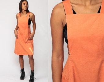 Corduroy Dress Jumper Mini Dress 70s Mod Pinafore Bib Suspender Overall Peach Orange Vintage 1970s Boho Preppy Bohemian Medium