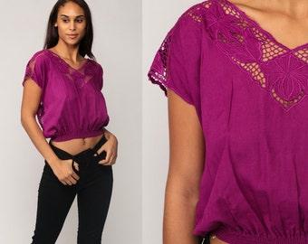 Boho Blouse Cut Out Crop Top SHEER Embroidered Floral Shirt 80s BALI Bohemian Cutwork Embroidery Mesh 70s Cutout Purple Small Medium