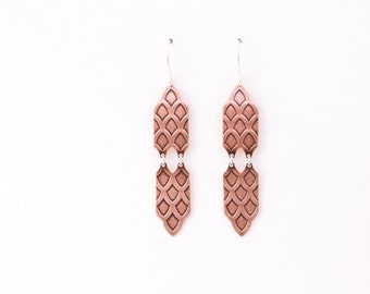 """Lightweight copper and sterling silver Moroccan ethnic inspired sterling silver dangles - """"Copper Amira Earrings"""""""