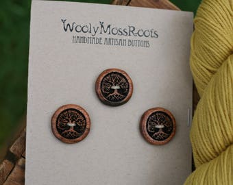 3 Madrone Tree Buttons- Oregon Myrtlewood- Wooden Buttons- Eco Craft Supplies, Eco Knitting Supplies, Eco Sewing Supplies