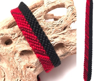 Friendship bracelet - striped - knotted - woven - handmade - embroidery floss - thread - string - red - black - solid - candy stripe