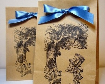 Alice in Wonderland Party Bags SET of 25 -Double Sided Design-Ribbon Choice Available