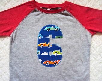 Boys Birthday Shirt- Race Car Shirt- Two Year Old shirt- Three Birthday Shirt- Four Year old Birthday shirt- Five Birthday Shirt- Six Shirt