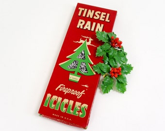 Vintage 1940s Christmas Decoration / 40s National Tinsel Fireproof Icicles 6 oz / Christmas Tree Trimming Tinsel for Medium Large Tree
