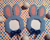 2 Handmade Baby Blue Easter Bunny Picture Frame Magnets Plastic Canvas