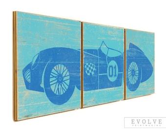 LARGE Vintage Race Car Print - Custom Wall Art for Boys Rooms - Baby Boy Nursery - Race Car Theme