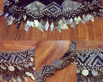 """Reserved for A Modern real Egyptian Assuit tribal fusion Bellydance belt costume 40-41"""""""