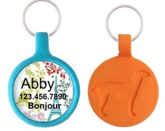 Paris in the Spring- Silver Custom Personalized Dog ID Pet Tag Custom Pet Tag You Choose Tag Size & Colors