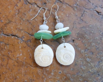 Ocean jewelry -  shiva eyes shells, sea glass, shell, pebble earrings - natural organic earthy jewelry handmade with found earth treasures.