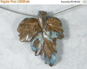 SALE Boulder Opal Leaf Carved Bead Pendant Australian Natural - 216.07cts (530576)