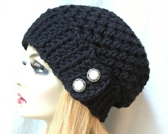 Crochet Womens hat, Black Slouchy Beret, Pearl Buttons, Soft, Chunky, Head Cover, Teens, City Hat, Birthday Gifts, Gifts for Her, JE410BB2