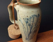 Stoneware Travel Mug With Cork ~ Dried Flower Design ~