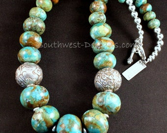 Turquoise Rondelle Bead Graduated Necklace with 24mm Tibetan Silver Rounds, Pen Shell Heishi and Sterling Silver