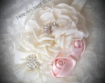 Cream Headband/Baby Headband/Baby Girl Headband/Newborn Headband/Victorian style headband Girl/Girls Headband/Baby Headbands/Hair Bows