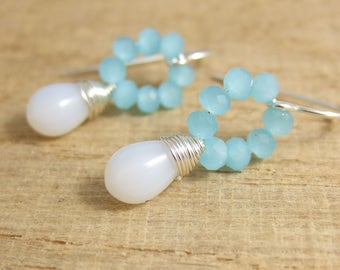 Earrings with Tiny, Aqua Blue Crystal Beads and Milky White Glass Teardrops Wire Wrapped with Sterling Silver Wire HE-359