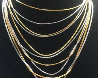 ON SALE Vintage Silver & Gold Tone Multi Strand Snake Chain Necklace
