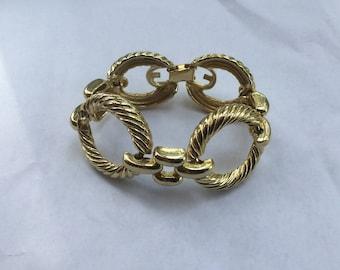 Vintage Chunky Gold Rope Link Bracelet