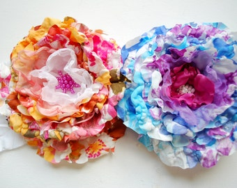 SALE, cij, yellow orange pink flower, blue pink weddings accessories, bridal brooch, bridesmaids, flower girl, bridal hair clip, autumn
