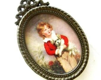 Vintage Oval Metal Frame Miniature Victorian Boy Dog Ornate Decorative Brass Red