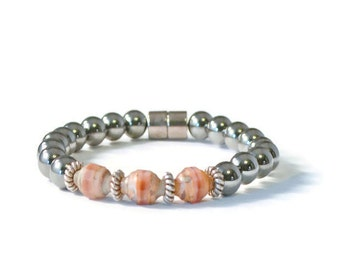 Magnetic Hematite Therapy Bracelet with Peach Czech Glass Beads, Arthritis Jewelry
