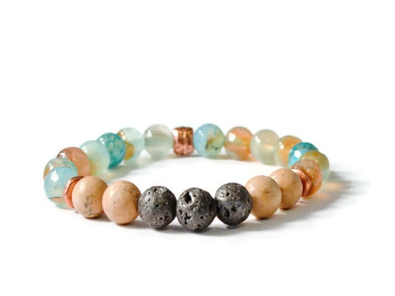 Agate, Grainstone, and Lava Stones Aromatherapy Stretch Bracelet, Essential Oil Accessories