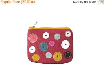 SALE Wallet Mini leather wallet coin pouch money bag, minimalist wallet polka dot wallet gem red leather wallet christmas gift for daughter,