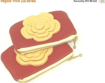 SALE Black friday Leather Bag Change Pouch in Lipstick red and yellow Coin Pouch Gift Idea christmas Accessories