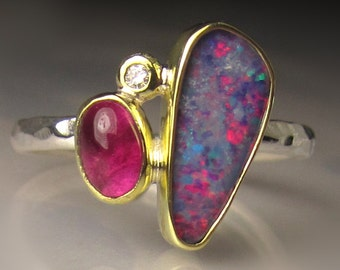 Opal Ring, Opal and Pink Tourmaline Ring, Boulder Opal Ring, 18k Yellow Gold and Sterling Silver Australian Opal Ring