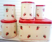 Vintage Metal Bread Box, Canisters Set, 5-Piece 1950s, Red & White, Rose-Buds, Shabby, Cottage-Chic, Charming!  Ask a question